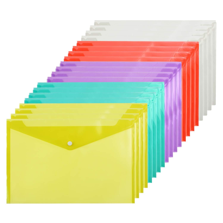 Pack de 20 carpetas/sobres de colores para tamaño A4. Opción de tamaño A5.