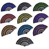 LCZX 10 Pieces Sequins Fan Vintage Folding Hand Fans Embroidered Handheld Fan Spanish Fabric Fans, 10 Colors