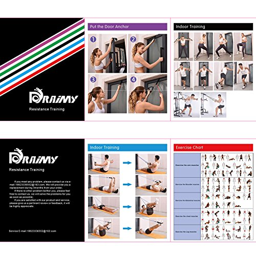 Resistance Band Set, Home Workout Bands with Handles, Heavy Duty Anti-Snap Technology Exercise Bands, Door Anchor, Leg Straps, Carrying Bag for Resistance Training and Physical Therapy. by Doraimy (Image #6)