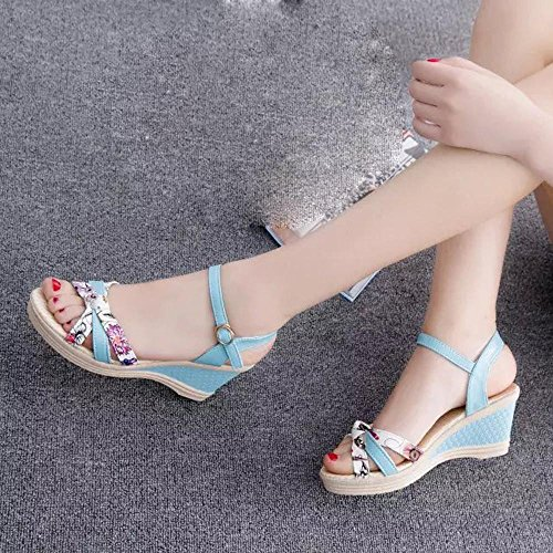 Jamicy Wedges Women Fashion Soft Flip Flops Ppen Toe High-Heeled Sandals Shoes Blue XftHjw48g
