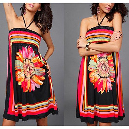 Style de baño sin delgado QBQ traje baño Cover de étnicos Sun Boho Vestido floral negro Up Beach tirantes Traje Mujeres Bandeau 01 ZxfqaHx