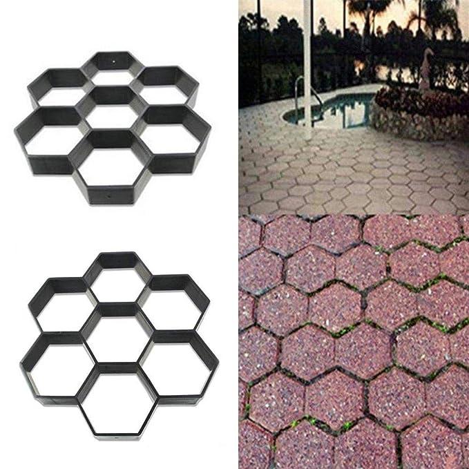 Volwco Betonform Schalungsform Kunststoff Path Maker D.I.Y Betonform Pflasterform Schalungsform Betonpflaster Plastik DIY Pfad-Hersteller-Form F/ür Garten Gehweg