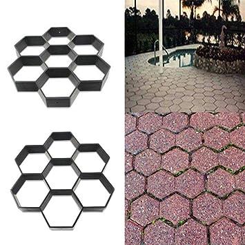Womdee Walk Maker Molde, Reutilizable hormigón Paso Piedra pavimentación DIY césped hormigón jardín Camino moldes