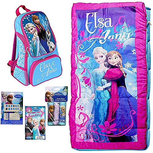 (Disney Frozen Sleeping Bag, Backpack, Jump Rope, Play Pack Grab & Go, and 65pc Nail, Stickers, Gems Set)