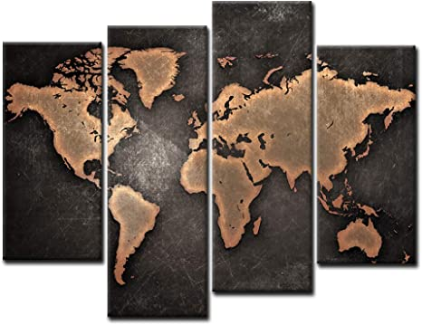 Amazon Com General World Map Black Background Wall Art Painting Pictures Print On Canvas Art The Picture For Home Modern Decoration Posters Prints