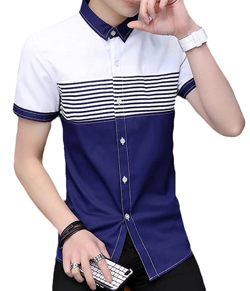 Pivaconis Mens Short Sleeve Dress Shirts Casual Contrast Color