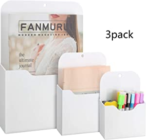 3 Pack Magnetic File Holder, Large Size Refrigerator Storage Pocket for Notebooks, Letter, Pen, Markers, Good for Class Whiteboard, Office, Refrigerator, Locker (L, M and S)