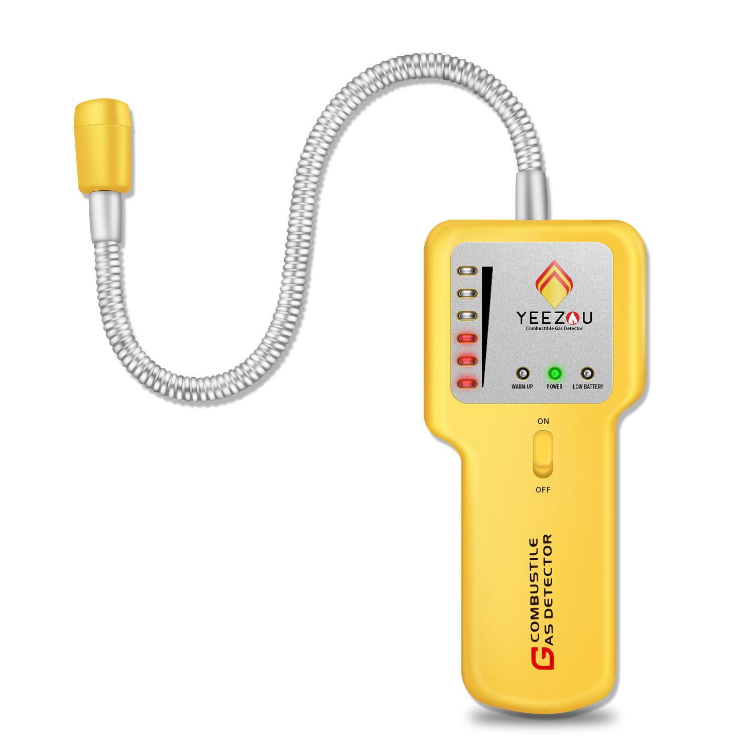 Combustible Gas Leak Detector, Natural Gas Detector,Propane Gas Leak Detector,Portable Gas Leak Sniffer Detector,Gas Monitor Detector,CE Certified,Sound & LED Warning, Flexible Sensor Neck