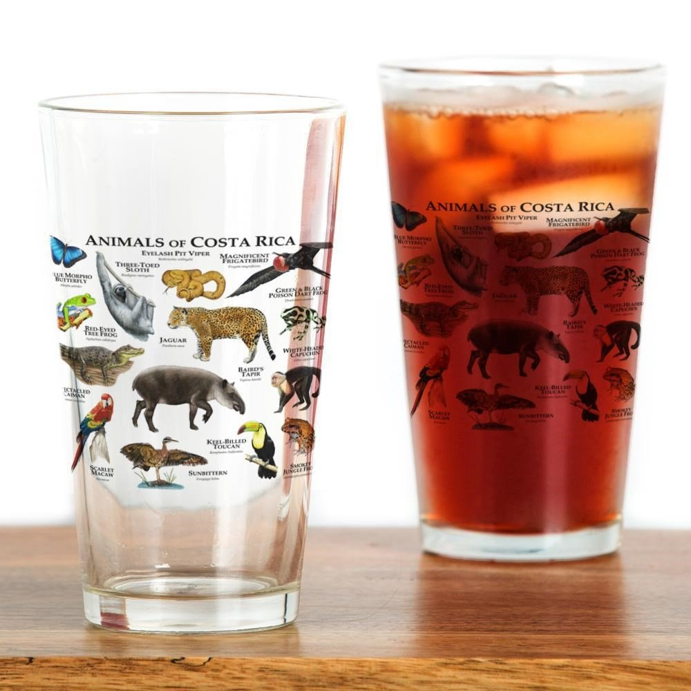CafePress - Costa Rica Animals - Pint Glass, 16 oz. Drinking Glass by CafePress