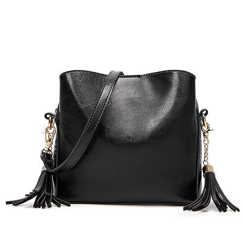 Orfila Leather Shoulder Bag Small Crossbody Purse Fashion Bucket Bag Tassel  Purse for Women,Black 01a82b0353