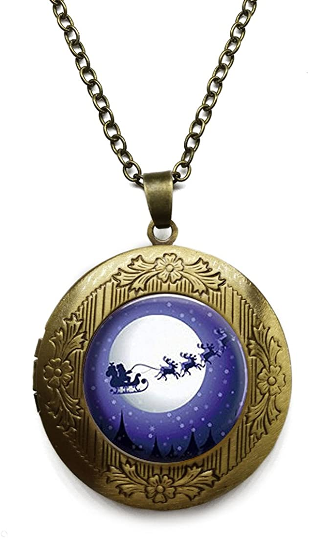 Vintage Bronze Tone Locket Picture Pendant Necklace Santa Claus Sleigh Reindeer-Full Moon Included Free Brass Chain Gifts Personalized