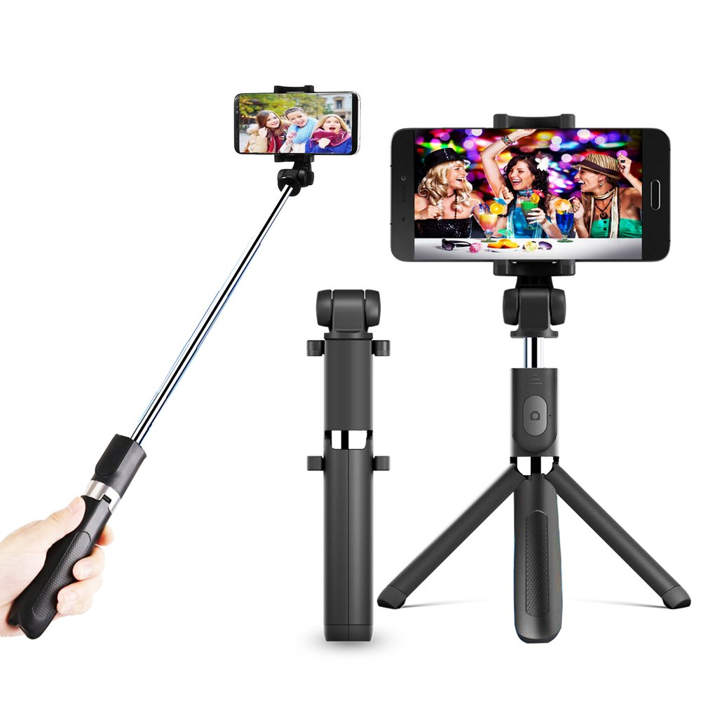 Zeadio 3-in-1 Multifunction Extendable Mini Pocket Selfie Stick, Integrated Foldable Tripod with Bluetooth Remote and 360 Degree Rotation Smartphone Holder Mount CA-DV-SELFY-BT18