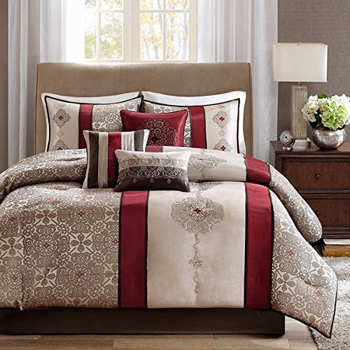 Asian Medallion (7 Piece Luxurious Medallion Damask Design Comforter Set Queen Size, Featuring Classy Embroidered Floral Stripes Rich Asian Moroccan Pattern, High End Premium Elegant Stylish Cozy Motif, Red, Brown)