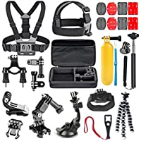 TechKen 26-in-1 GoPro Mount Accessory Kit for Gopro Hero 6 5 4 3 General Action Camera AKASO EK7000 APEMAN WiMiUS Rollei QUMOX Lightdow Campark And Sony Sports DV