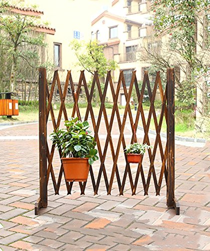 ZENGAI Flower Racks Solid Wood Retractable Fence Outdoor Cut