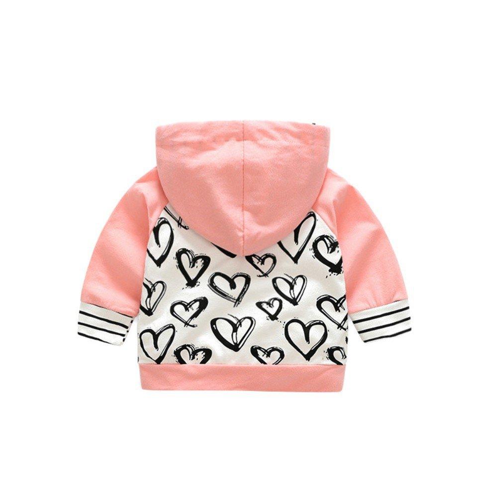 Doubleer Kinder Baby M/ädchen Sweatshirt Set Langarm Hoodie Liebe Herz Print Tops Hosen Trainingsanzug