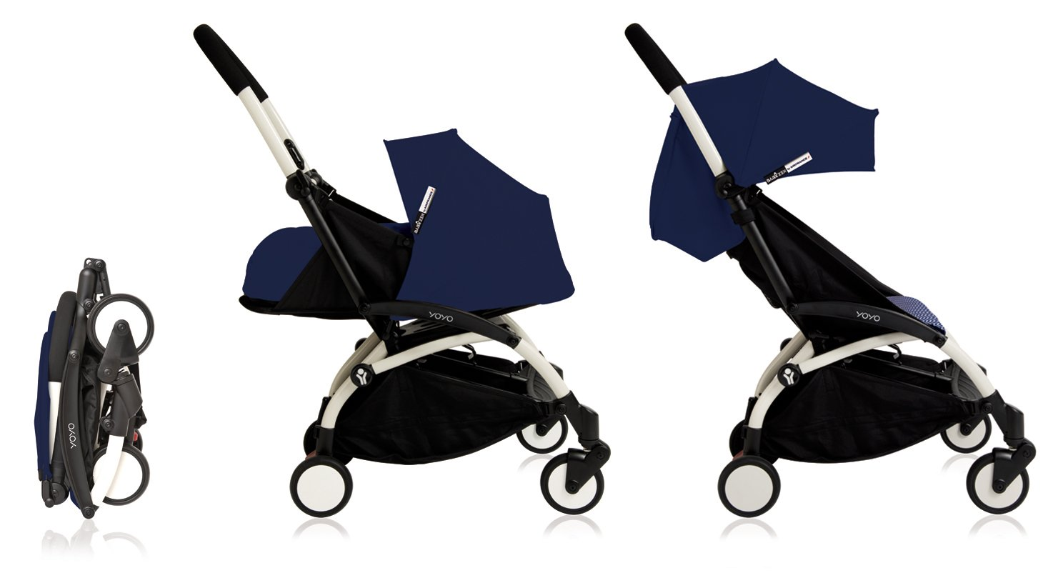 Babyzen Yoyo+ Stroller - White Frame - 0+ Newborn Pack - 6+ Color Pack - Air France Blue