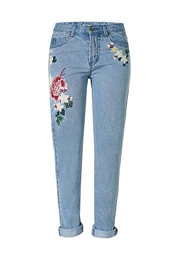 Yacun Pantalons Cheville Broderie Fleur Femme Droite Jeans Haleter Blue XS 8f3ca0aa8164