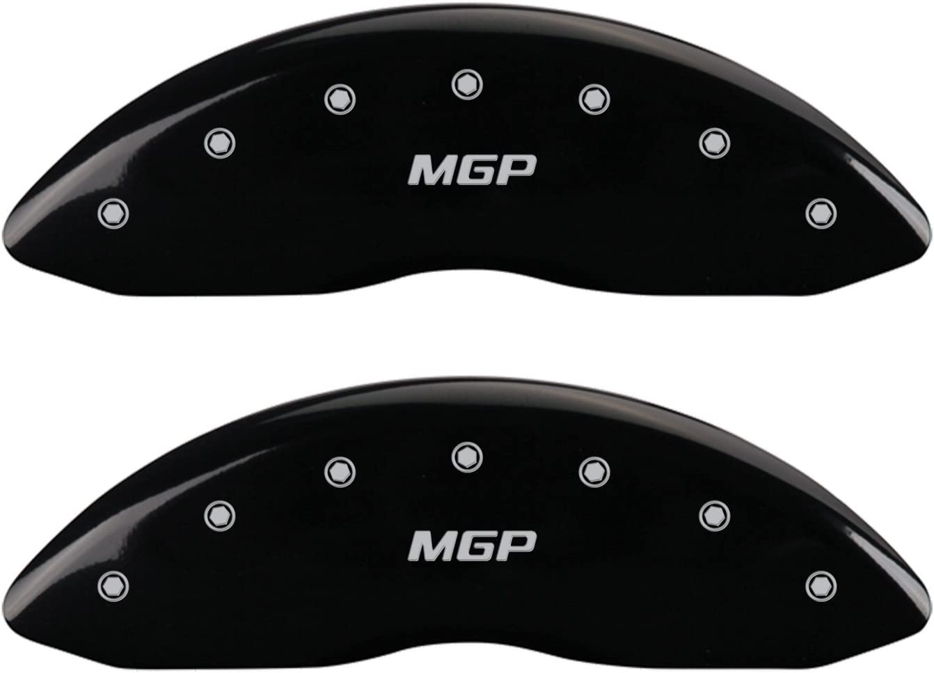 Set of 4 MGP Caliper Covers 22185SMGPBK MGP Engraved Caliper Cover with Black Powder Coat Finish and Silver Characters,