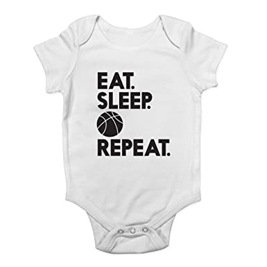 10f58e637b7 Shopagift Eat Sleep Basketball Repeat Boys Girls Baby Vest Bodysuit