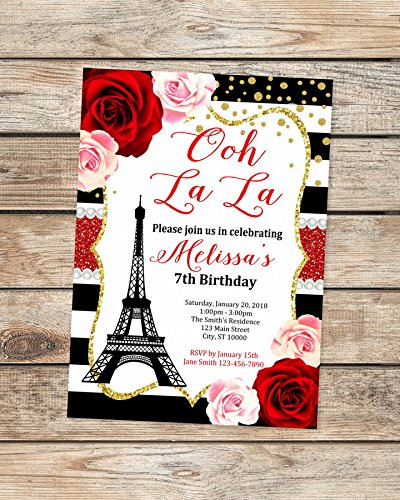 Paris Birthday Invitations Eiffel Tower French Theme Party Invitation Ooh La Black White Stripes Floral