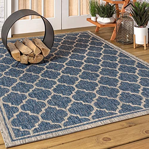 JONATHAN Y Trebol Moroccan Trellis Textured Weave Indoor/Outdoor Navy/Gray 8 ft. x 10 ft. Area Rug