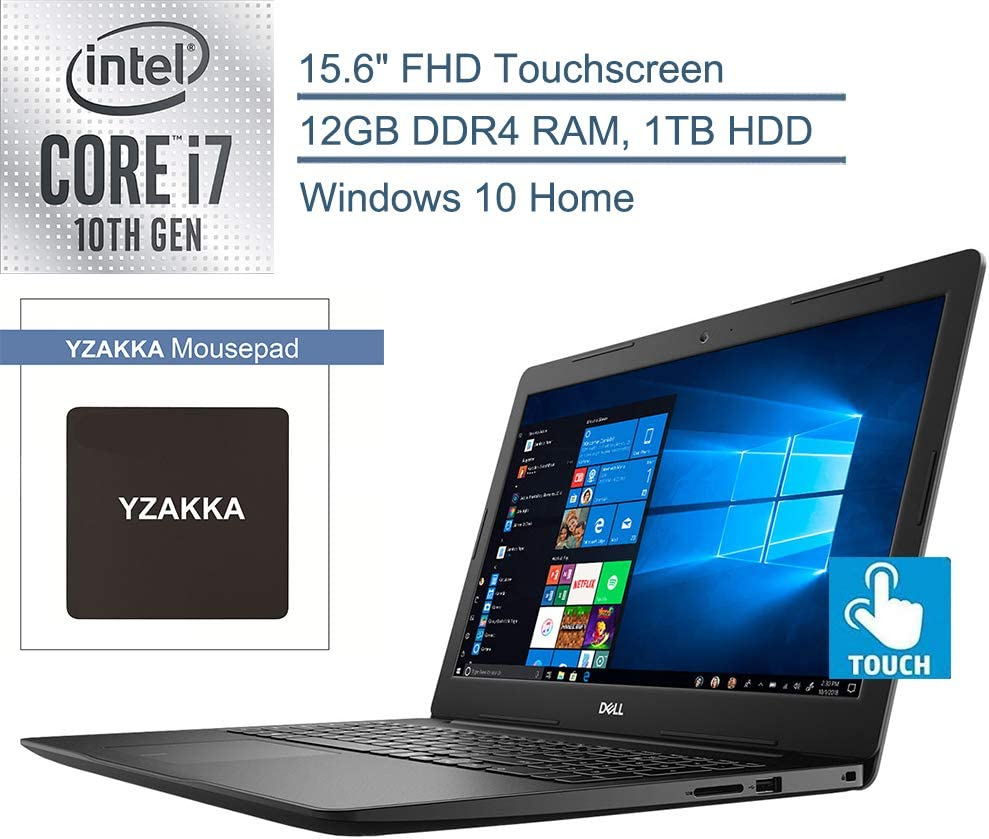 "2020 Dell Inspiron 15 15.6"" FHD Touchscreen Laptop Computer, 10th Gen Intel Quard-Core i7-1065G7 up to 3.9GHz, 12GB DDR4 RAM, 1TB HDD, Windows 10, iPuzzle Mousepad, Webcam, Online Class Ready"