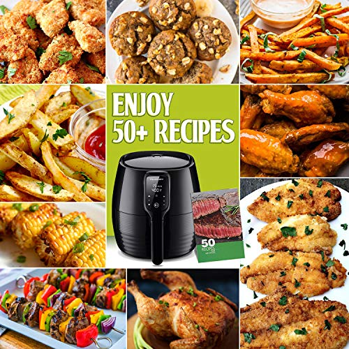 Air Fryer XL, 5.8Qt Electric Hot Airfryer Oven Oilless Cooker with Detachable Nonstick Basket, LCD Touch Screen, Timer Temperature Control, Dishwasher Safe, Auto Shut Off, W/50 Recipes, 1400W by US PIEDLE (Image #4)