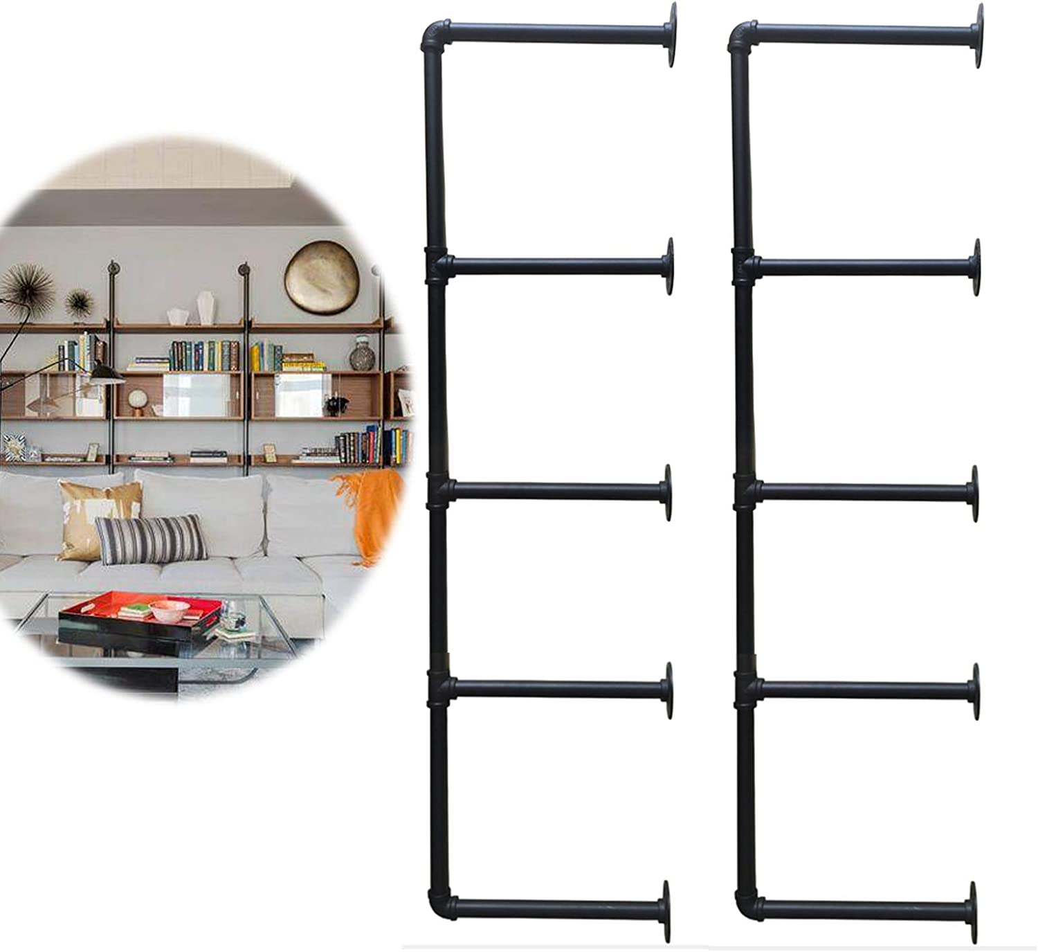Heroecol 2Pc 56 Tall 12 Board Wide Industrial Iron Pipe Shelf Shelves Bookshelf Bookcase Shelving Bracket Vintage Retro Black Open DIY Storage Home Office Kitchen 2Pcs 5Tier Hardware only