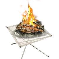 Feuerstelle Edelstahl silber XXL Fire Pit ✔ eckig ✔ tragbar