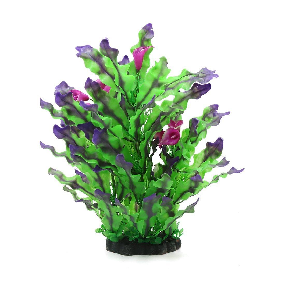 Uxcell a17040100ux0480 Fish Tank Aquatic Simulation Plastic Plant Grass Lawn Decoration Green Purple
