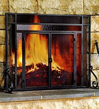 Amazon.com: Plow & Hearth Small Fireplace Screen with Hinged ...