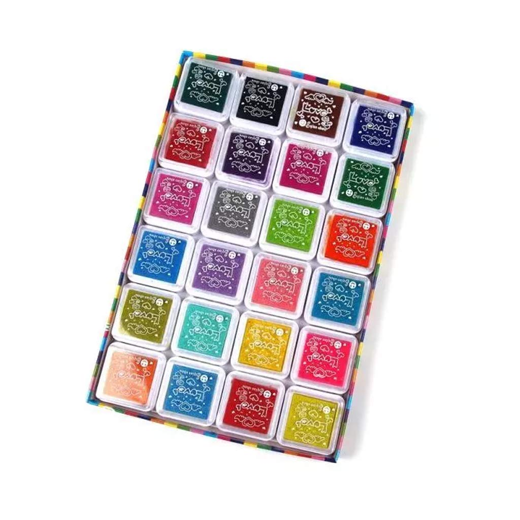 Washable Stamp Pads for Kids,Fingerprint Rainbow Color Craft Ink Pad Set for Use with Any Rubber Art//Craft Stamps bluederst 24 Colors Ink Pads