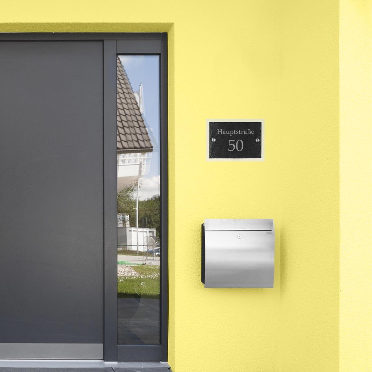 polar-effekt Hausnummerschild Personalisiert Geschenk zum Einzug T/ürschild Schieferplatte mit Gravur Motiv Familienname mit Stra/ße und Hausnummer Schiefertafel Acrylglas