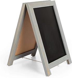 Ilyapa Rustic Wooden Magnetic Tabletop Chalkboard Sign - 10x14 Wood A-Frame Standing Sandwich Board Menu Display - Graywash