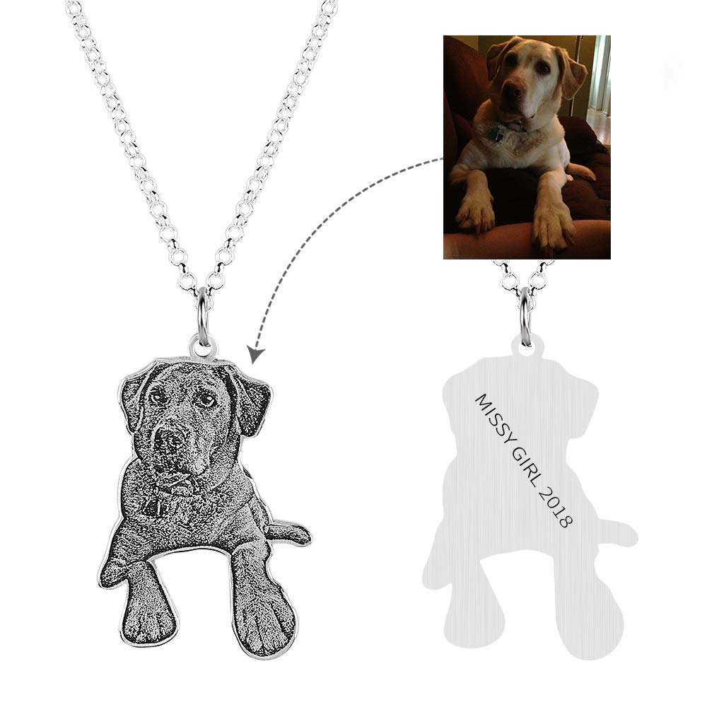 VERSUSWOLF 925 Sterling Silver Personalized Jewelry Custom Photo Necklace Pendant Pet Double Sided Pendant