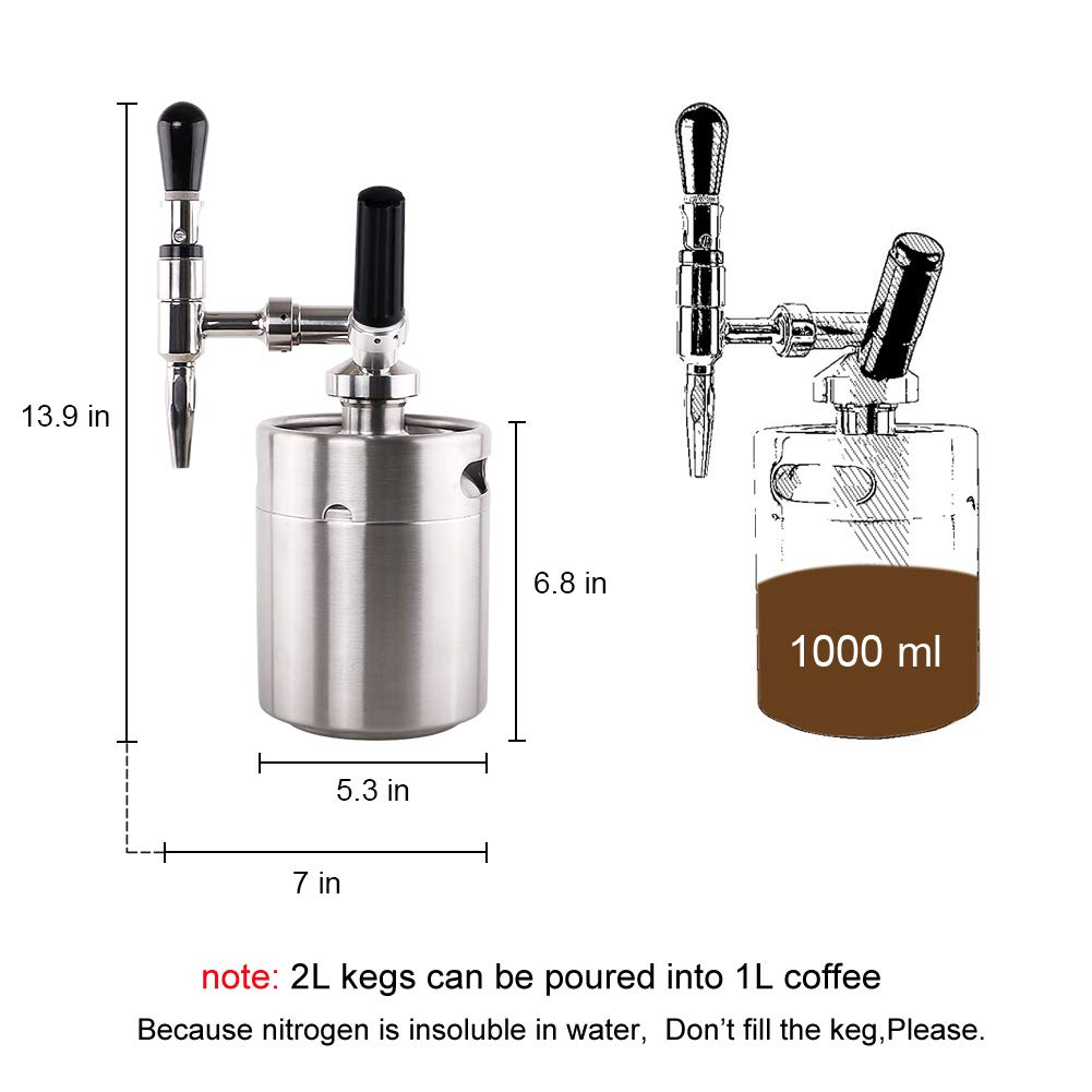 Lamtor Nitro Cold Brew Coffee Maker 64 OZ Mini Stainless Steel Keg Home brew coffee System Kit Best Choice of Diy Coffee Lovers by Lamtor (Image #3)