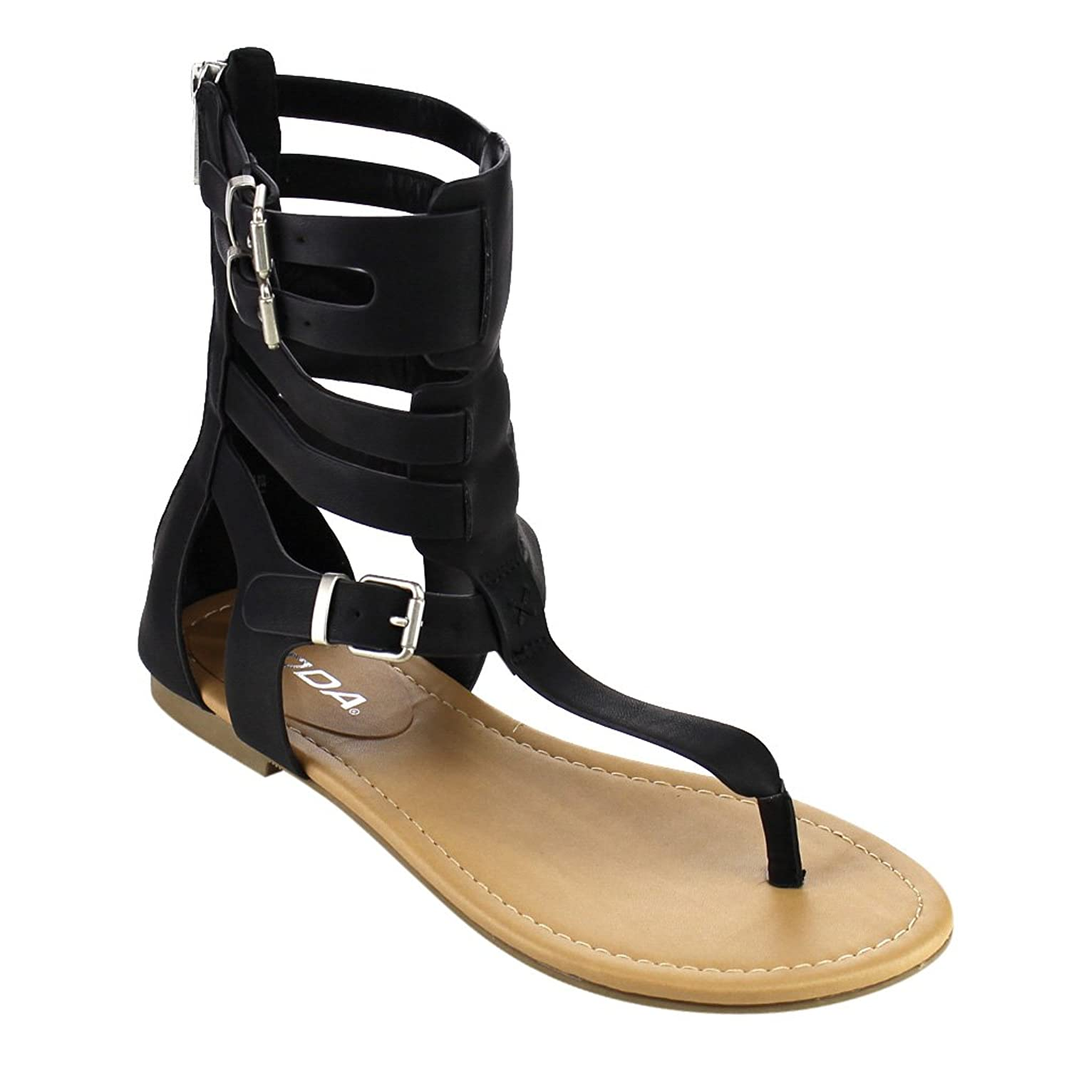259cd63f93e8 Women s Shoes T-strap Caged Buckled Flat Thong Sandals Open Toe Back Zipper  One Size