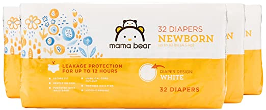 Amazon Brand - Mama Bear Diapers, Newborn, 128 Count, White Print (4 packs of 32)