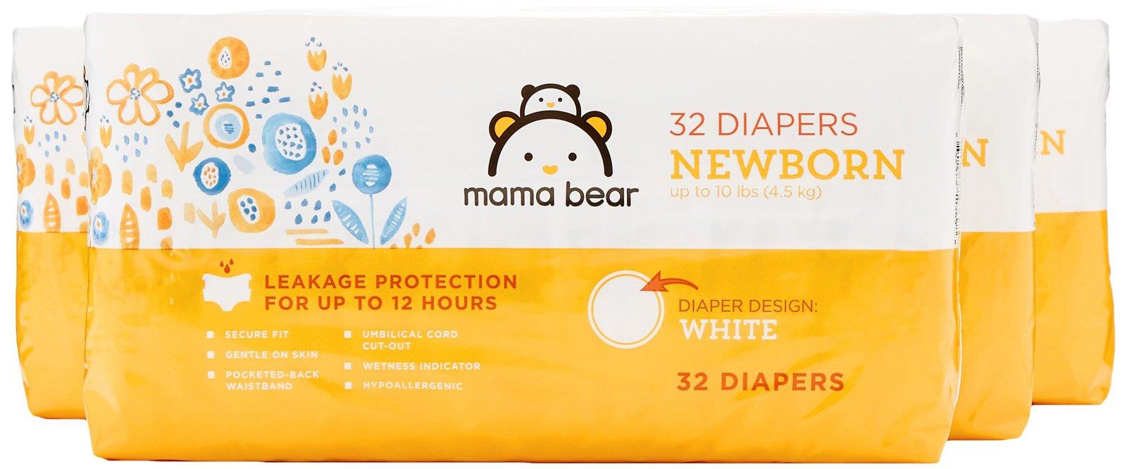 Amazon Brand - Mama Bear Diapers, Newborn, 128 Count, White Print (4 packs of 32)