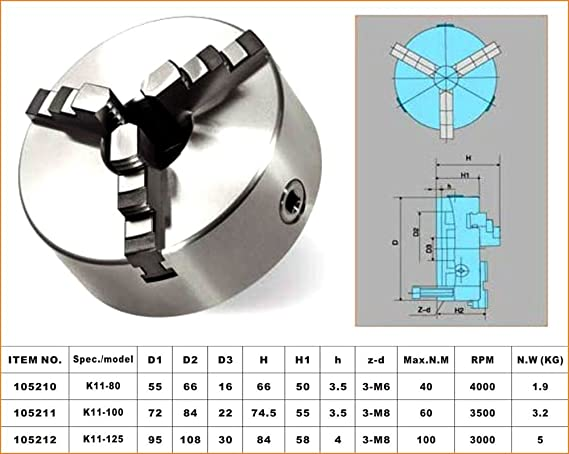 New K11 Series 125mm Diameter 3 Jaw Self Centering Lathe Milling Chuck 105212