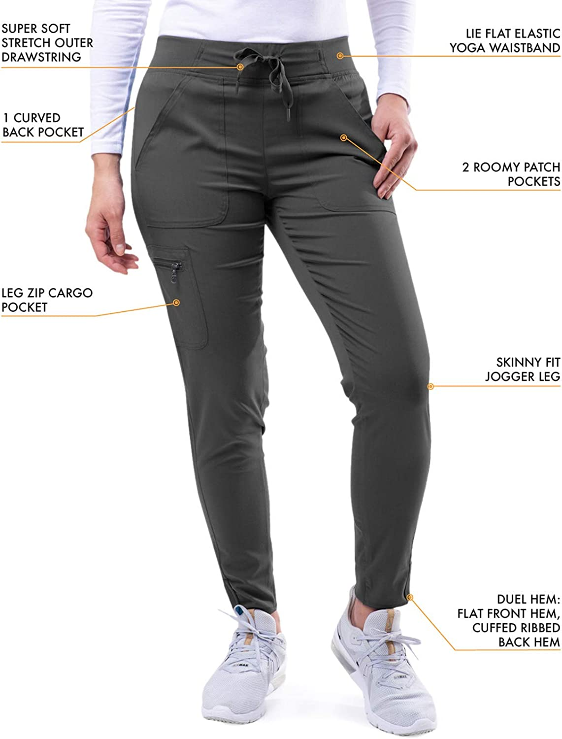 Adar Pro Scrubs for Women - Ultimate Yoga Jogger Scrub Trousers Pewter