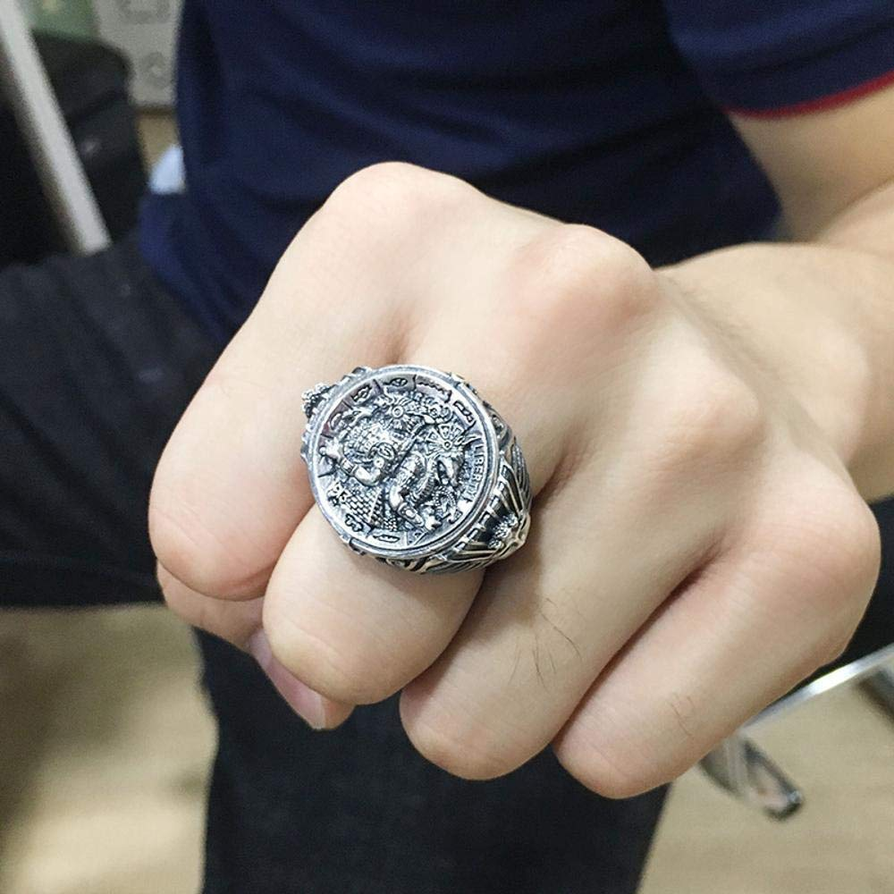Dixinla Rings Djustable, S925 Sterling Silver Fashion Retro Thai Silver Personality Avatar Ring Mens Birthday Gifts