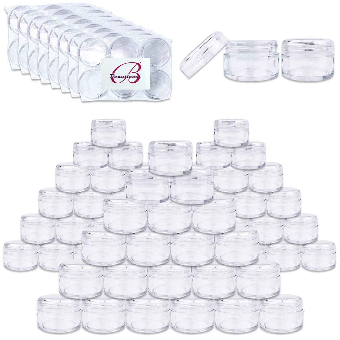Beauticom 150 Pieces 20G/20ML Round Clear Jars with Screw Cap Lid for Pills, Medication, Ointments and Other Beauty and Health Aids - BPA Free