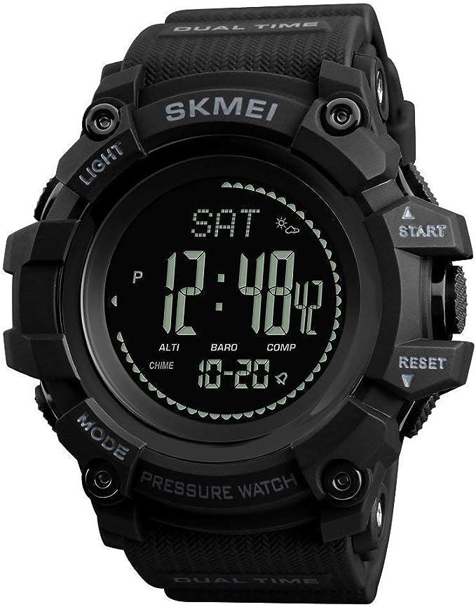 Reloj de Pulsera para Hombre con brújula Deportiva, retroiluminado, podómetro, calorías, Reloj Digital, Escalada, barómetro, termómetro …