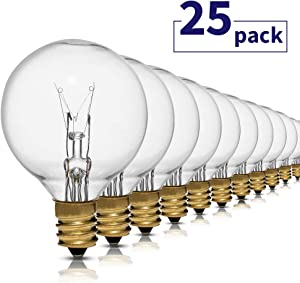G40 Small Replacement Bulbs for Patio String Lights, 5 Watt Clear Glass Incandescent Bulb, E12 Candelabra Base, 25 Pack