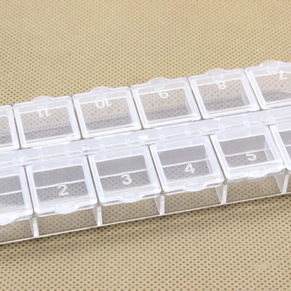 creatspaceE Portapillole Rettangolare con 12 Scomparti Trasparente