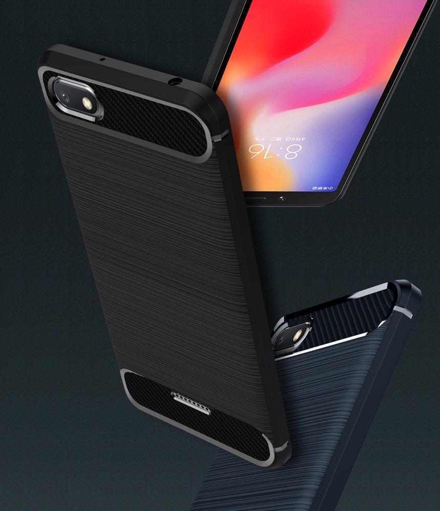 Funda para Xiaomi Redmi 6A Dise/ño de Fibra de Carbon Ultra Fina TPU Silicona Carcasa Fundas Protectora con Shock- Absorci/ón iVoler 2 Unidades Negro+Azul