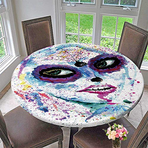 PINAFORE HOME Round Premium Table Cloth Halloween Girl with Sugar Skull Makeup Paint Perfect for Indoor, Outdoor 50