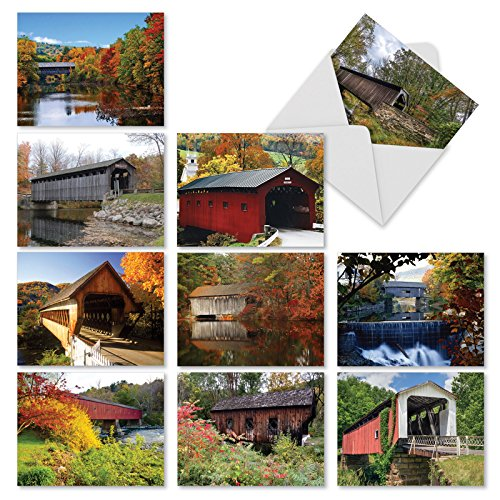 dges: 10 Assorted Blank All-Occasion Note Cards Featuring Rustic Covered Bridges in Gorgeous Autumnal Landscapes, w/White Envelopes. (Trestle Tree)